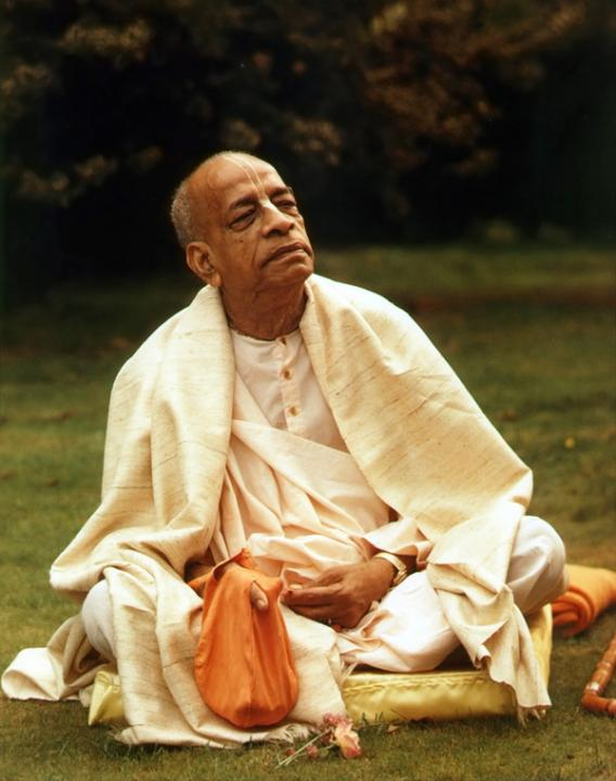 Prabhupada Chanting Japa on the Lawn of Bhaktivedanta Manor, London, England