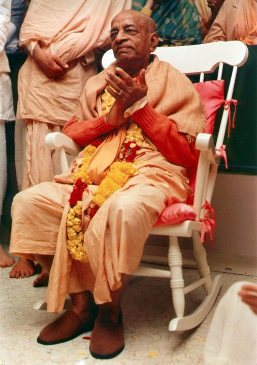 Srila Prabhupada Sitting on Rocking Chair
